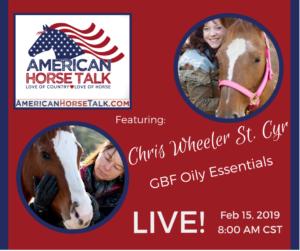 American Horse Talk LIVE:  Chris Wheeler St Cyr @ American Horse Talk Facebook PAGE